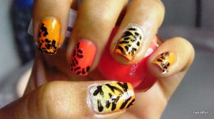 """The nail polish color that I am holding is """"Forest Fire"""" by VOV"""